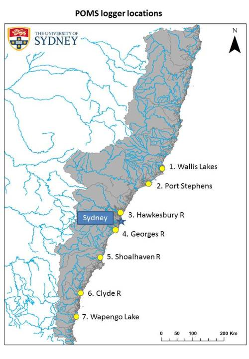 Locations of temperature data loggers on oyster leases in New South Wales